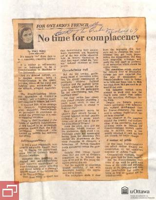 """Article du journal The Ottawa Citizen intitulé """"For Ontario's French: No time for complacency"""", par Tracy Morey, le 26 mars 1969"""